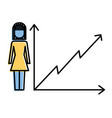 businesswoman with diagram arrow growth finance vector image