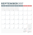 Calendar Planner Template for September 2017 Week vector image vector image