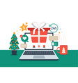 christmas online shopping flat cartoon with vector image