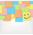 colored stickers background with smile vector image