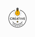 creative process rounded linear idea logo on white vector image