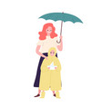 cute mother and daughter dressed in raincoat vector image