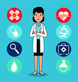 doctor medical center cartoon vector image vector image