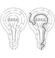 easy light bulb maze vector image vector image