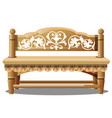 elegant wooden bench with carved patterns isolated vector image vector image