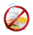fast food danger no food allowed symbol vector image