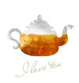 glassy teapot with tea watercolor picture vector image