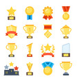 golden cups for winners and others sport trophy vector image vector image