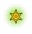 Golden sheriff star badge icon comics style vector image