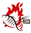 grilled fish silhouette vector image vector image