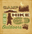 hiking camping design elements collage sign vector image vector image