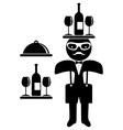 Hipster man Bow tie Waiter vector image vector image
