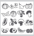 ingredients icons set vegetable and fruit for vector image