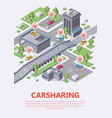 isometric carsharing map 3d of vector image vector image