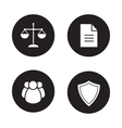 Jurisprudence and law black icons set vector image