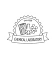 Logo and emblem for the chemical medical research vector image vector image