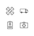 medical simple outlined icons set vector image vector image
