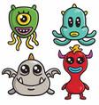 Monster character design cartoon set