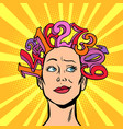 numbers hair on head woman and mathematics vector image vector image