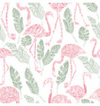pencil flamingo palm leaves seamless pattern vector image vector image