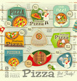 pizza stickers set vector image