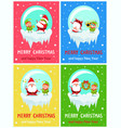 postcard merry christmas happy new year santa elf vector image vector image