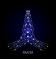 praying hands geometric polygonal art vector image vector image