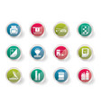 print industry icons over colored background vector image vector image