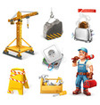 repair and service crane socket tools worker 3d vector image