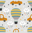 seamless pattern with hot air balloon and car vector image