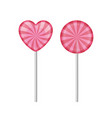 set 2 sweet realistic lollipops in pink color vector image vector image