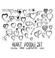 set heart doodle hand drawn sketch line eps10 vector image vector image
