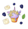 set ice cup cake unicorn blackberry banana vector image vector image