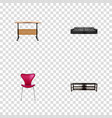 set of decoration realistic symbols with table vector image vector image