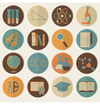 Set of flat education icons for design vector image