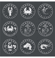 set of seafood Labels in retro style on chalkboard vector image vector image