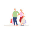 shopping time elderly couple purchases customers vector image vector image