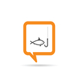 square orange speech bubble with fish on hook icon vector image
