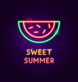 sweet summer neon label vector image
