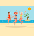 three girls jump on the beach background vector image