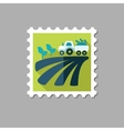 Tractor on field harvest seedling flat stamp vector image vector image