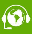 world planet and headset icon green vector image