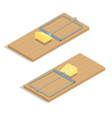 Mousetrap with cheese Flat 3d isometric vector image