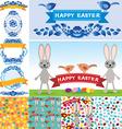 Happy Easter set Rabbit eggs flowers ribbons vector image