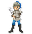 a knight in armor holding sword cartoon character vector image