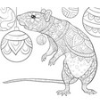 adult coloring bookpage a cute rat with christmas vector image vector image
