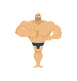 athlete winks and thumbs up happy bodybuilder vector image