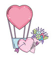 balloon air hot with heart shape and flower vector image vector image