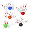 bowling ball and skittles set realistic vector image vector image