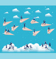 business people competing with paper airplane vector image